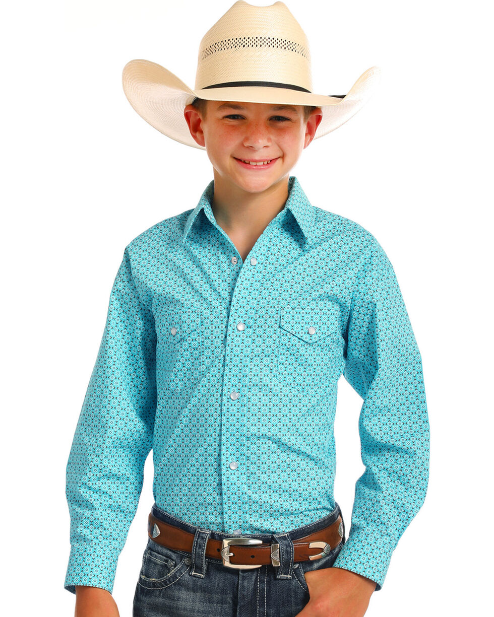 Rough Stock by Panhandle Boys' Pitkin Vintage Print Snap Shirt, Turquoise, hi-res