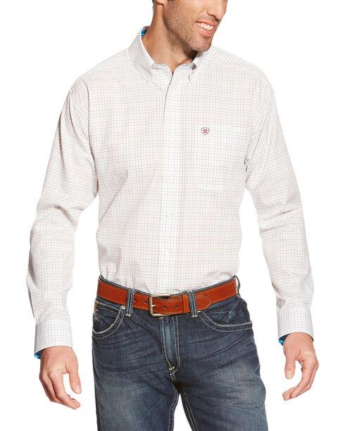 Ariat Men's White Quentin Grid Pattern Western Shirt , White, hi-res