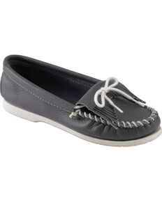 Women's Minnetonka Kilty Whipstitched Moccasins, Navy, hi-res