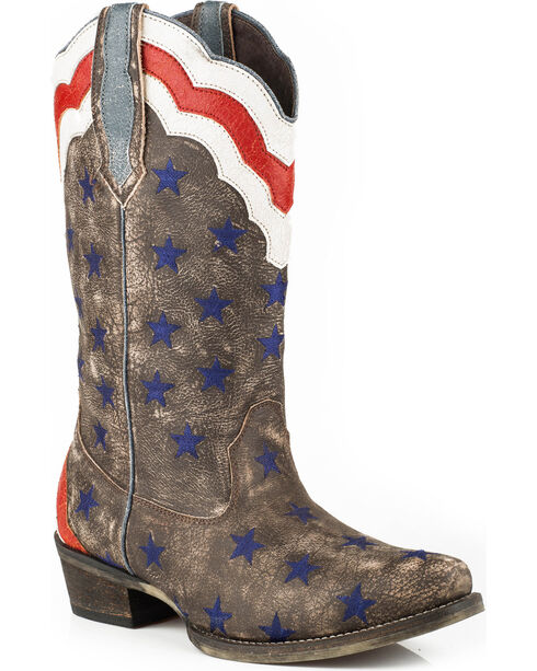 Roper Women's Brown Stars & Stripes Western Boots - Snip Toe , , hi-res