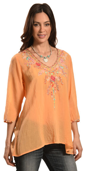 Johnny Was Women's Swan Blouse, Orange Sun, hi-res