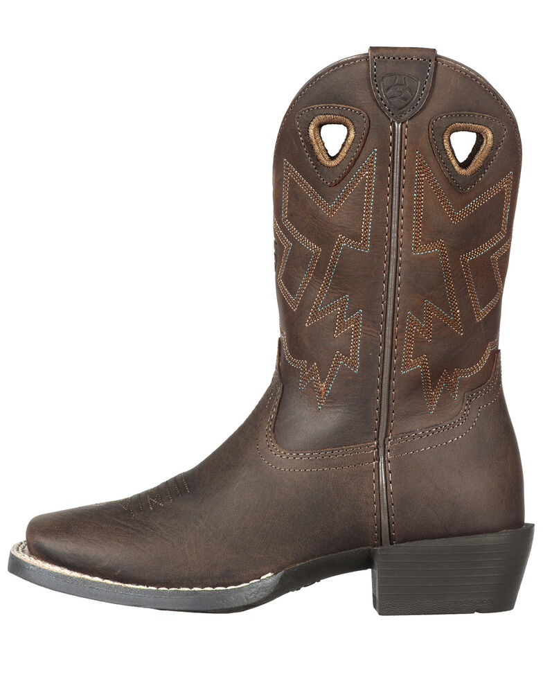 Ariat Youth Boys' Charger Distressed Cowboy Boots, Brown, hi-res