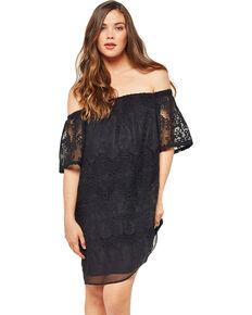 Glam Women's Crochet Embroidered Dress , Black, hi-res