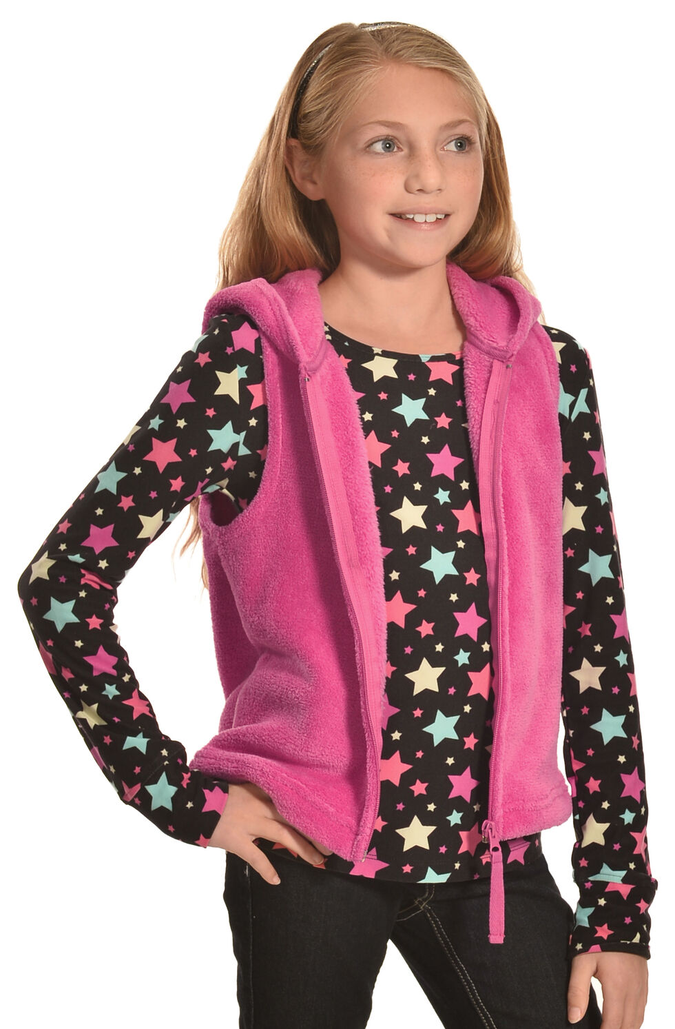 Derek Heart Girls' Pink Hooded Vest and Long Sleeve Star Tee Combo , Pink, hi-res