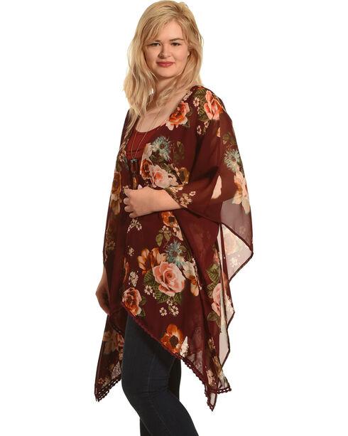 Luna Chix Women's Burgundy Floral Kimono , Burgundy, hi-res