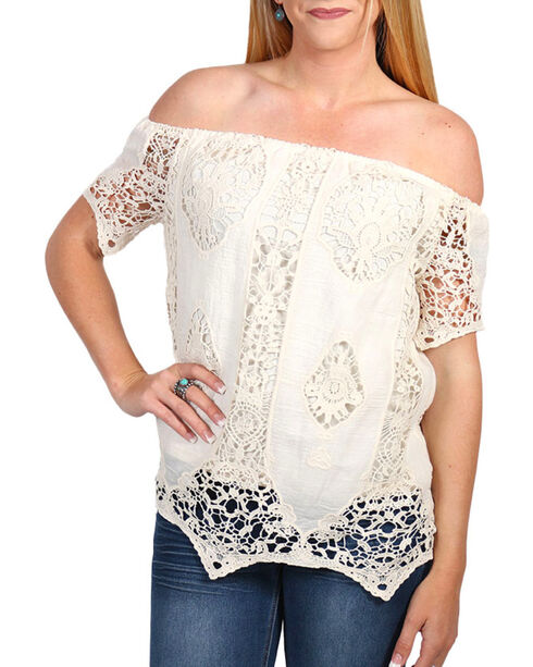 Say What Women's Crochet Lace Off The Shoulder Top, Natural, hi-res