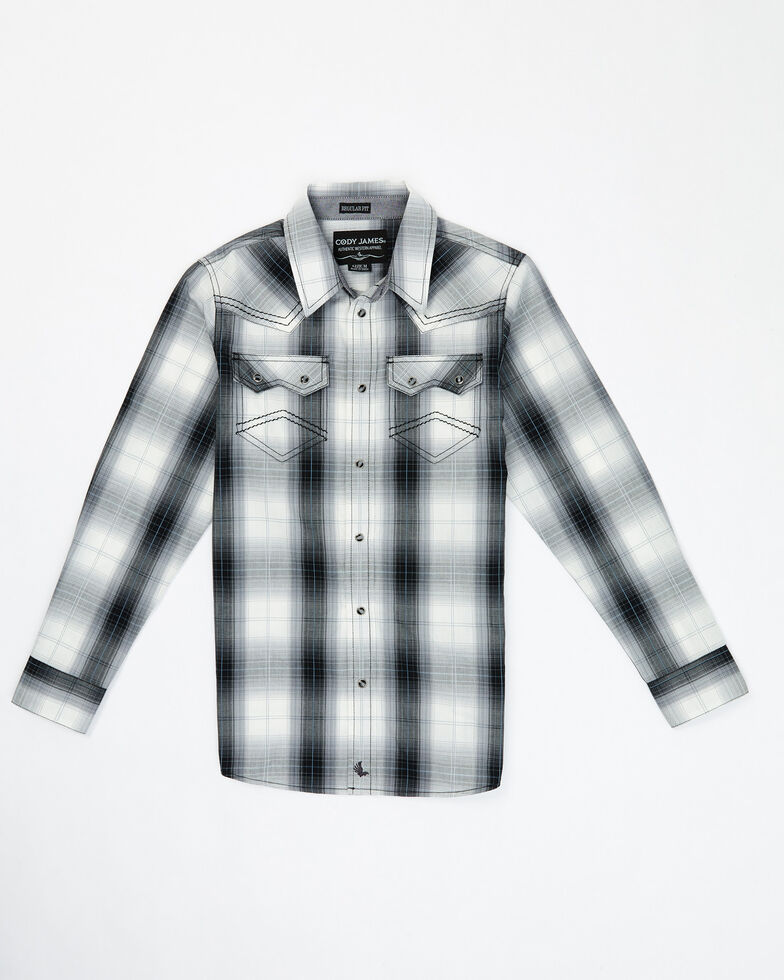 Cody James Boys' Reel In Plaid Long Sleeve Snap Western Shirt , White, hi-res