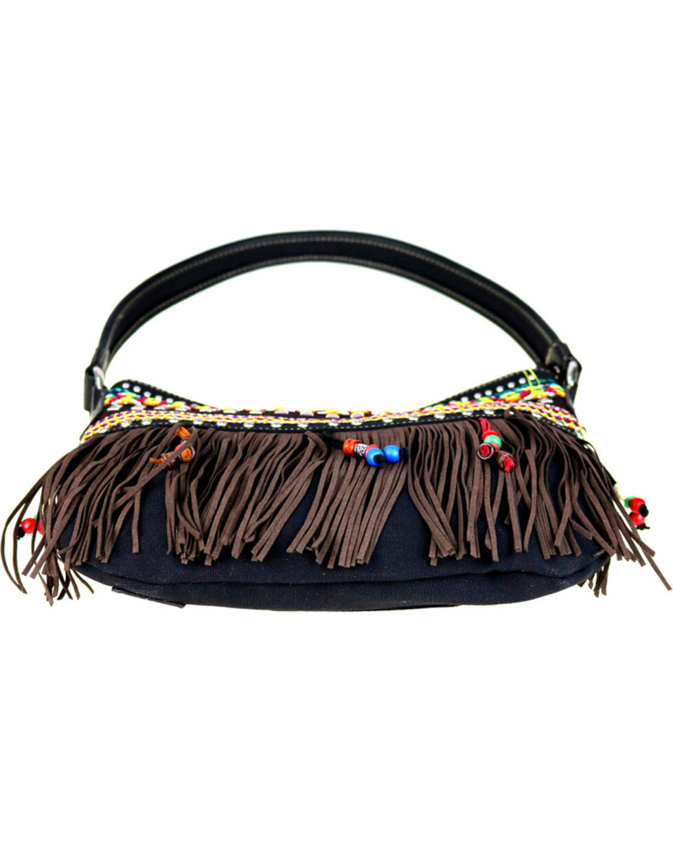 Montana West Women's Fringe Collection Concealed Handgun Hobo Bag , Black, hi-res
