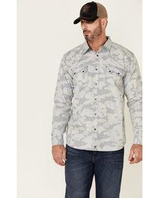 Moonshine Spirit Men's Dispatch Camo Print Long Sleeve Snap Western Shirt , Light Blue, hi-res
