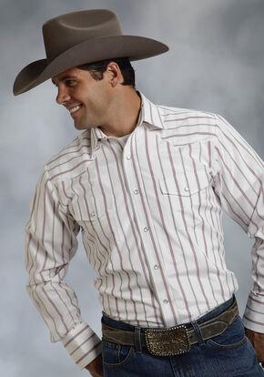 Roper Men's Red & White Striped Western Shirt, White, hi-res
