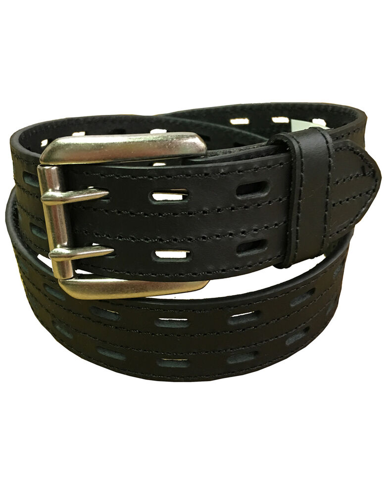 Danbury Men's Leather Prong Rollar Bar Work Belt , Black, hi-res