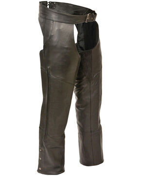 Milwaukee Leather Men's Stretch Thigh Vented Chaps - 4X, Black, hi-res