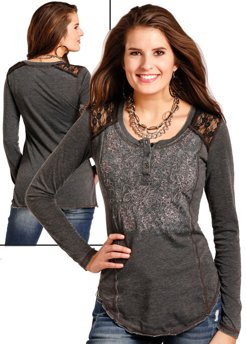 Panhandle Women's Lace Shoulder Henley Shirt , Black, hi-res