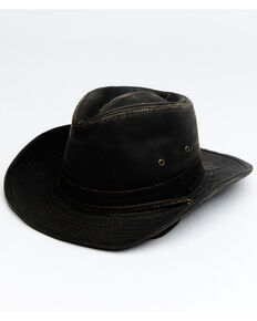 Hawx Men's Brown Outback Weathered Cotton Sun Work Hat , Brown, hi-res