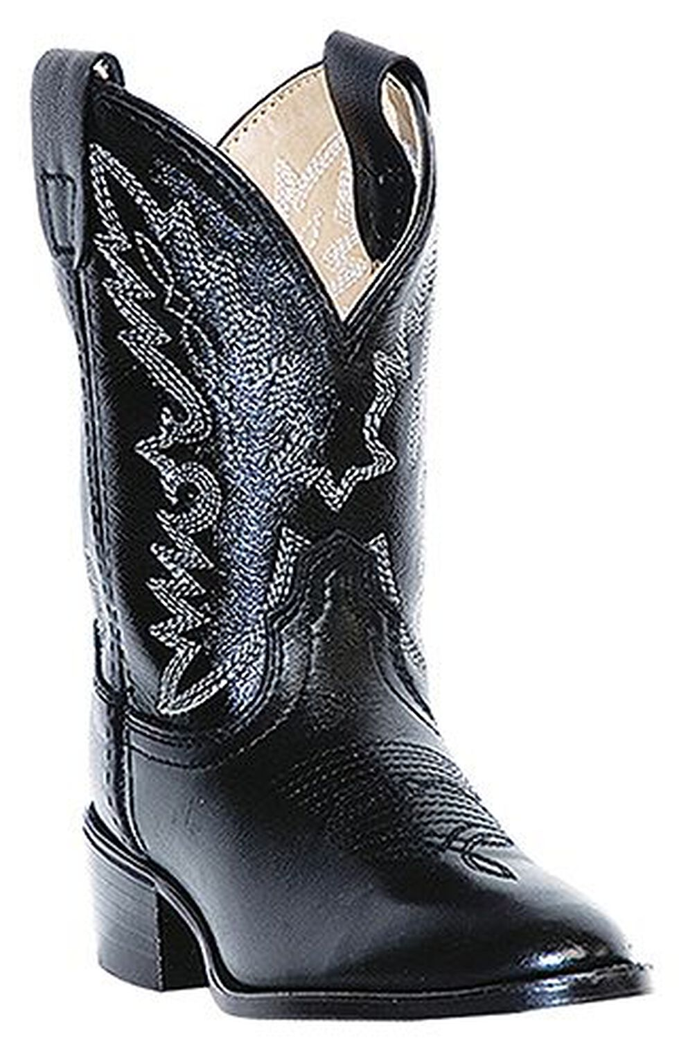 Dan Post Boys' Chaps Cowboy Boots - Round Toe, Black, hi-res