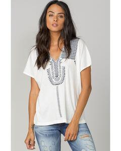 MM Vintage Women's White Embroidered Shoulder Short Sleeve Top, White, hi-res