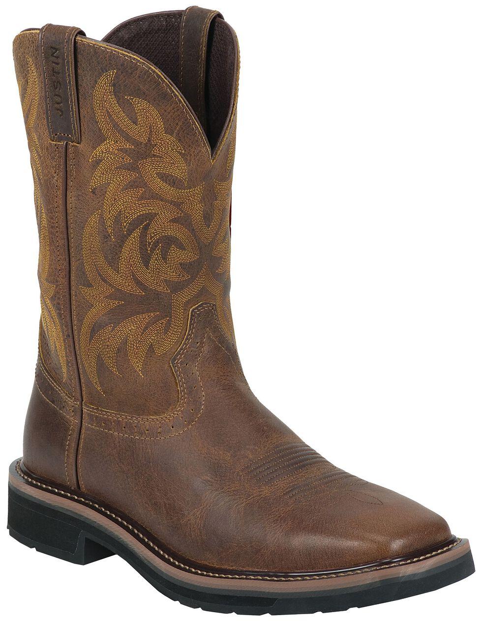 Justin Men's Stampede Handler Western Work Boots - Soft Toe, Tan, hi-res