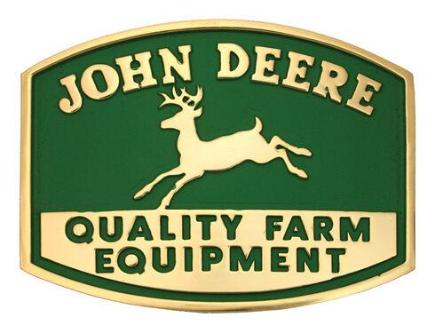Montana Silversmiths John Deere Quality Farm Equipment Logo Attitude Belt Buckle, Gold, hi-res