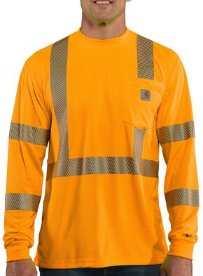 Carhartt Force High-Visibilty Class 3 Long Sleeve T-Shirt - Big & Tall, Orange, hi-res