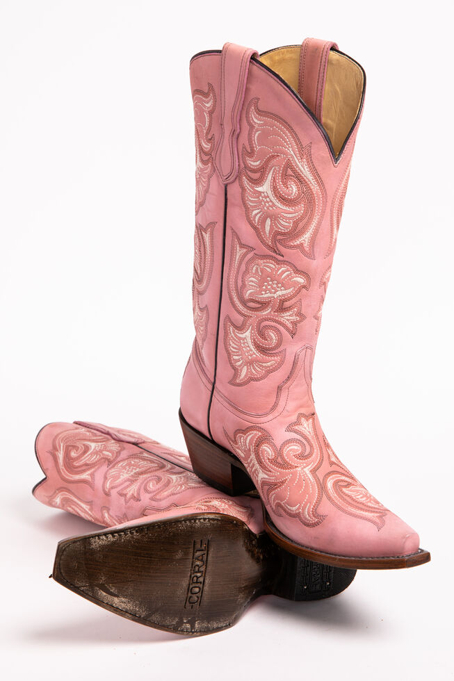 956c48cbda778 Corral Floral Embroidered Pink Cowgirl Boots - Snip Toe