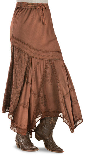 Scully Diagonal Embroidered Long Skirt, Rust Copper, hi-res