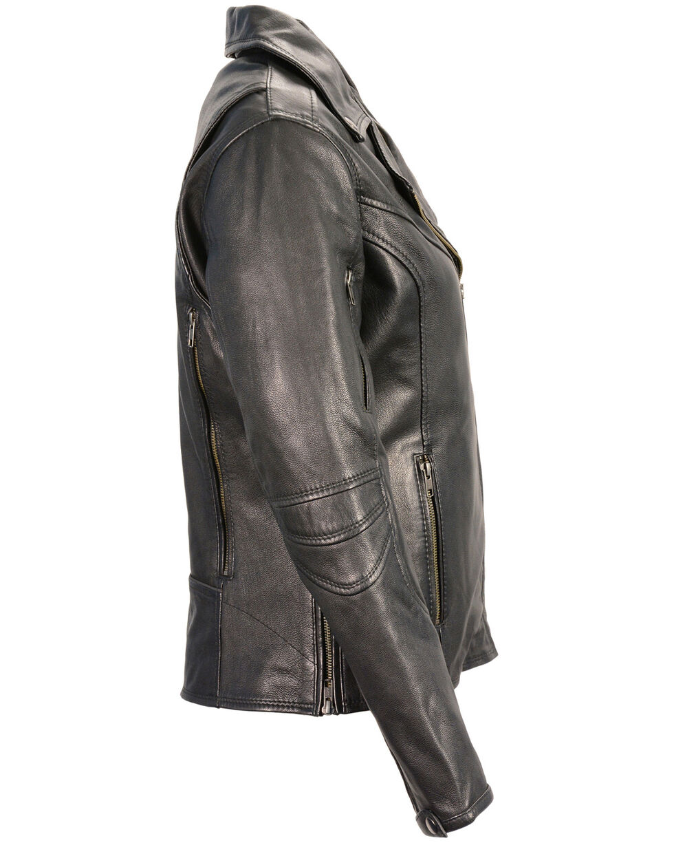 Milwaukee Leather Women's Lightweight Long Length Vented Biker Jacket - 4X, Black, hi-res