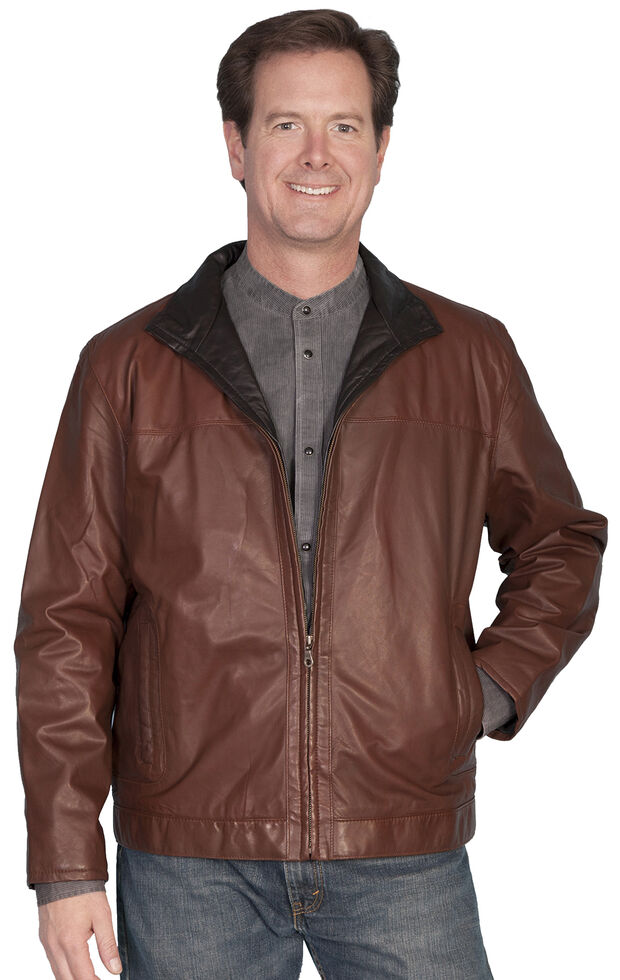 Scully Premium Lambskin Zip Front Jacket, Brown, hi-res