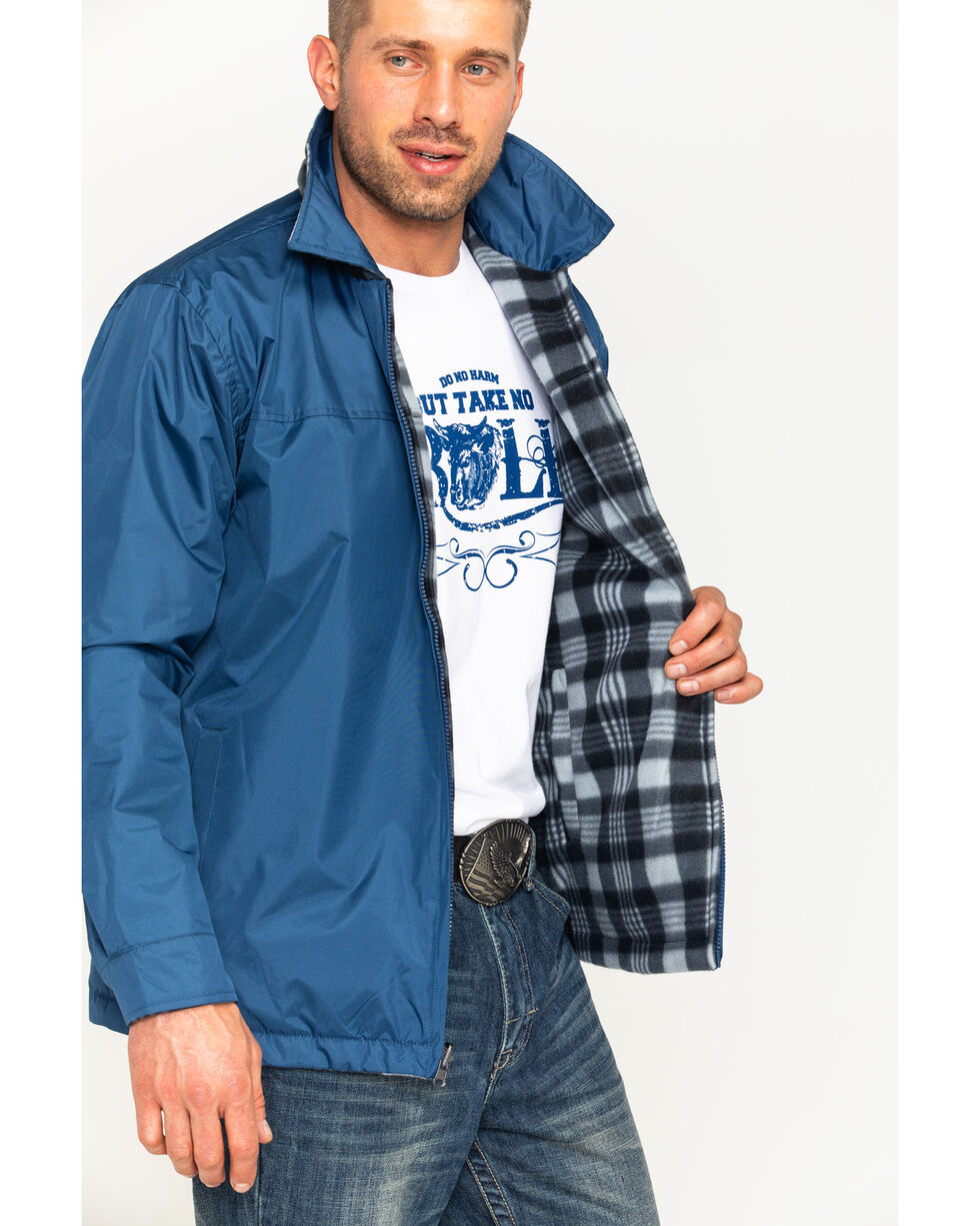 China Leather Men's Navy Reversible Plaid Jacket , , hi-res
