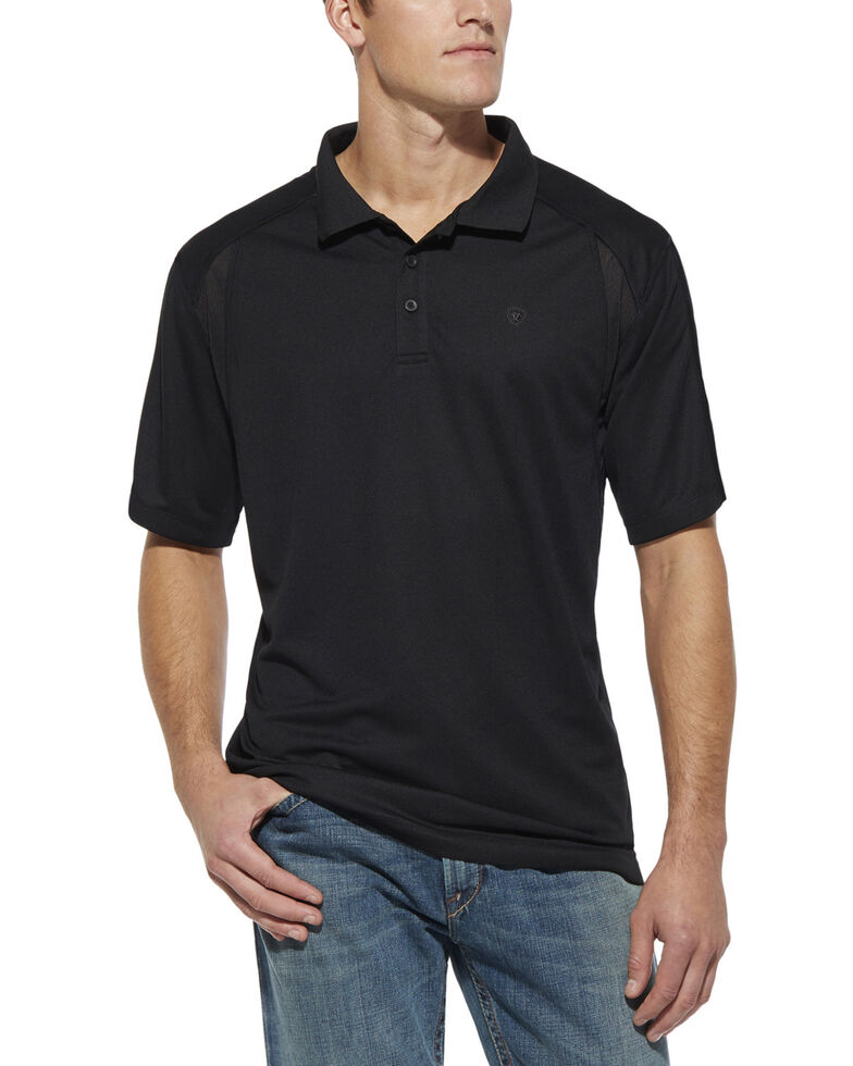 Ariat Men's Black AC Tek Polo Shirt, Black, hi-res