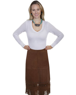 Leatherwear by Scully Women's Lamb Suede Fringe Skirt , Brown, hi-res