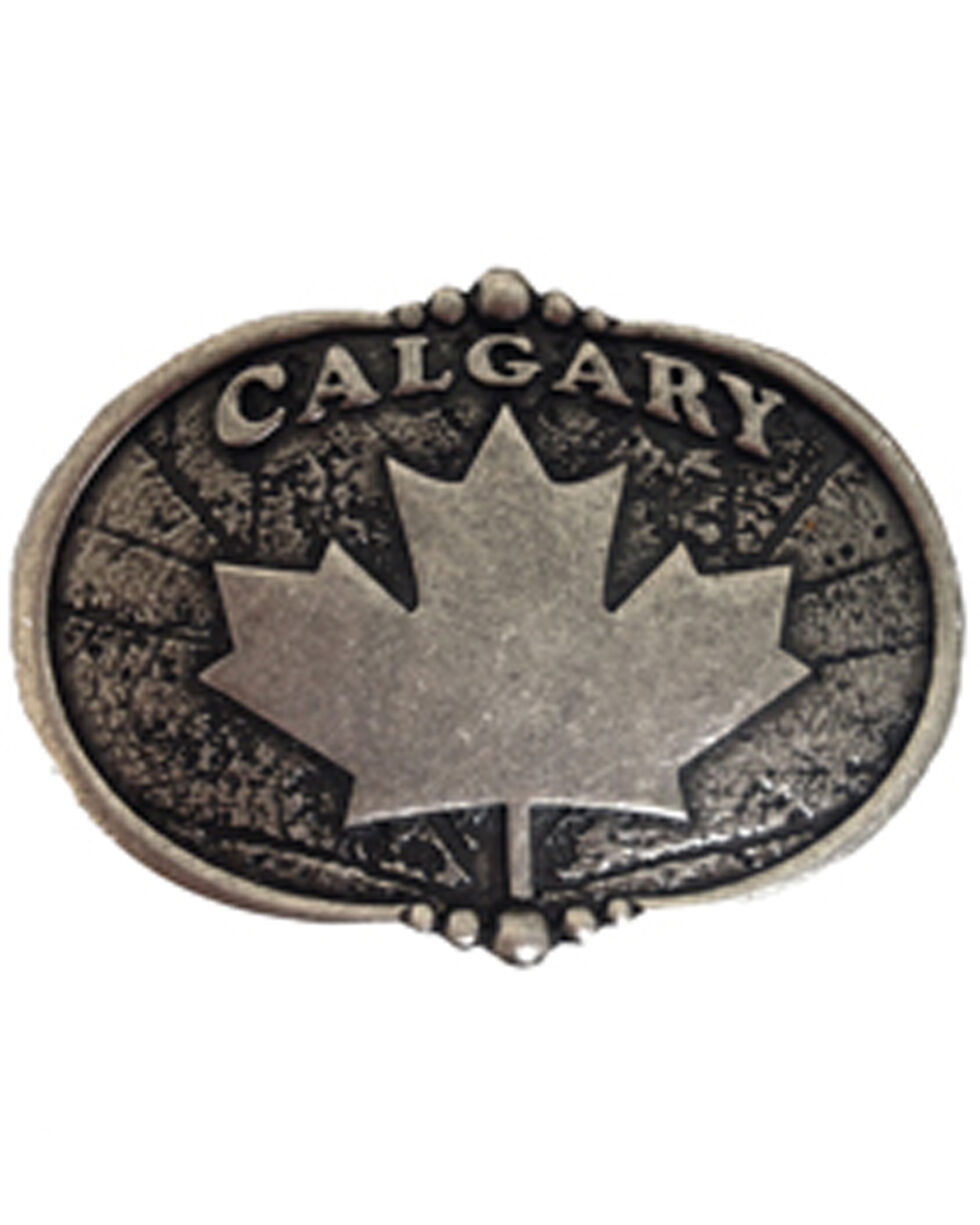 AndWest Vintage Silver Calgary Maple Leaf Belt Buckle, Silver, hi-res