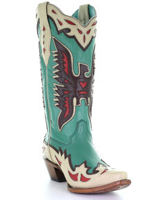 Corral Women's Turquoise Eagle Overlay Western Boots - Snip Toe, Turquoise, hi-res