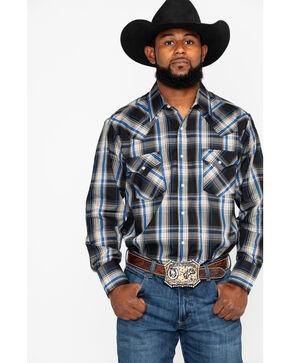 Ely Cattleman Men's Textured Plaid Long Sleeve Western Shirt , Black, hi-res