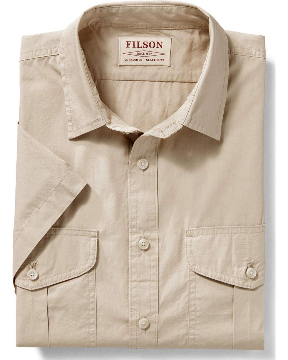 Filson Men's Tan Short Sleeve Feather Cloth Shirt , Tan, hi-res