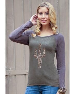 Wrangler Women's Raglan Sweater Knit Cactus Graphic Top, Black, hi-res