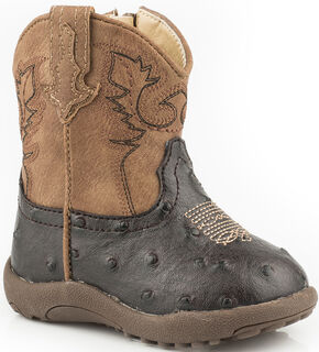 Roper Infant Boys' Brown Ostrich Print Booties - Round Toe, Brown, hi-res