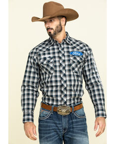 Wrangler Men's Ford Logo Multi Plaid Long Sleeve Western Shirt , Black, hi-res