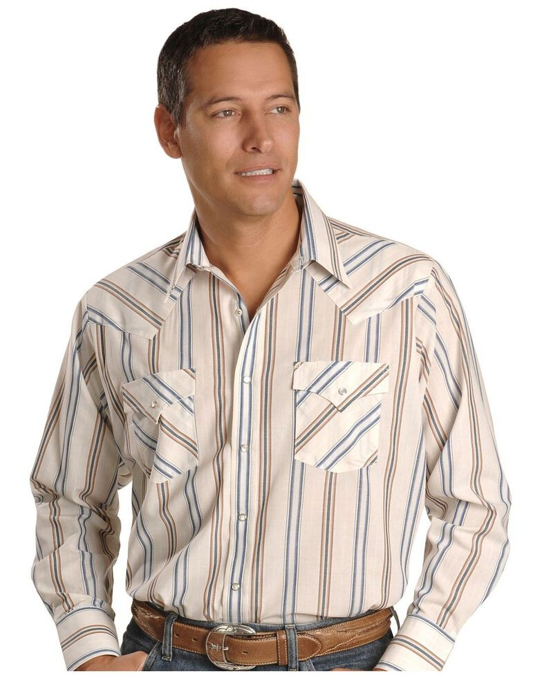 Ely Walker Men's Assorted Plaid or Stripe Long Sleeve Western Shirt, Stripe, hi-res