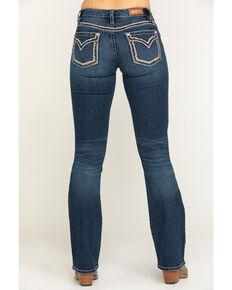Shyanne Women's Scroll Dark Wash Bootcut Jeans , Blue, hi-res