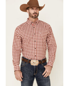 Ariat Men's Floyd Stretch Small Plaid Long Sleeve Button-Down Western Shirt , Red, hi-res