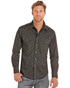 Rock & Roll Denim Men's Poplin Floral Print Long Sleeve Western Shirt , Charcoal, hi-res