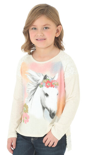 Wrangler Girls' Long Sleeve Lace Trim Horse Graphic Shirt, Natural, hi-res