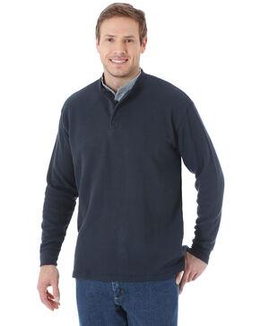 Wrangler Men's Charcoal Solid Thermal Henley Long Sleeve Work Shirt - Tall , Charcoal, hi-res