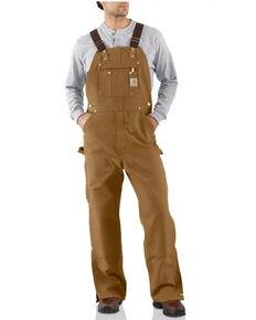 Carhartt Men's Solid Brown Zip-To-Thigh Unlined Bib Overalls - Big, Brown, hi-res