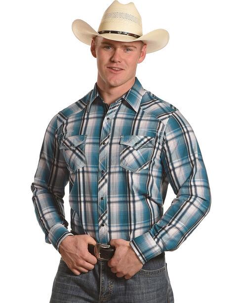 Ely Cattleman Men's Teal 1878 Texture Plaid Shirt , Teal, hi-res