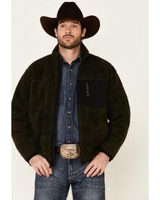 Ariat Men's Brine Olive Mammoth Sherpa Zip-Front Jacket , Olive, hi-res