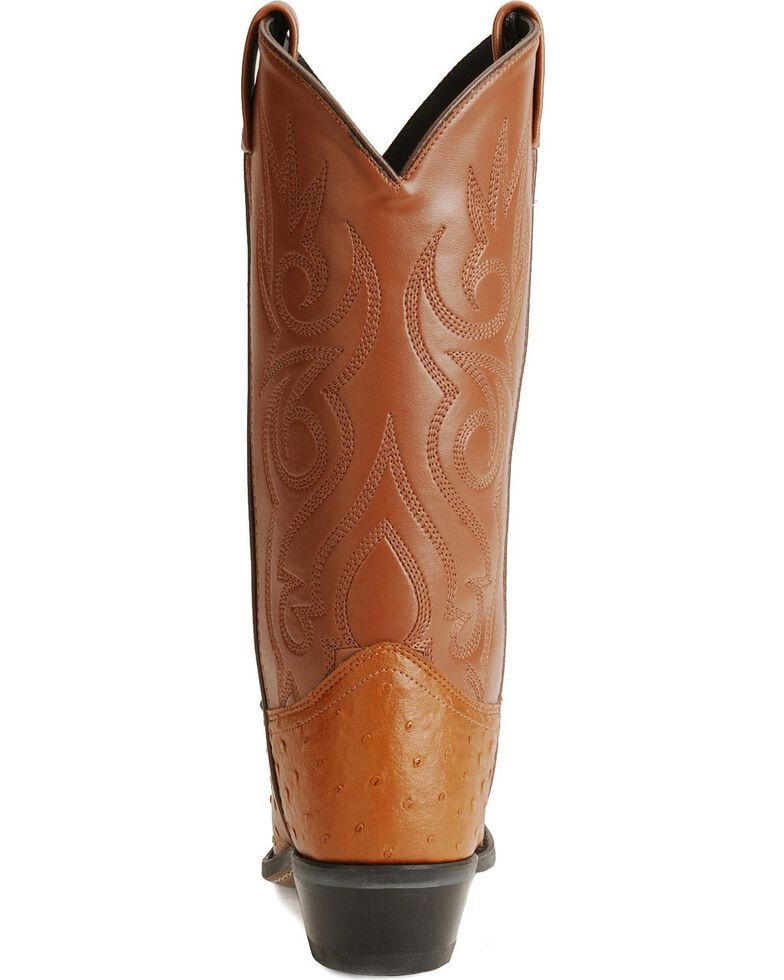Old West Fancy Stitched Ostrich Print Cowboy Boots - Pointed Toe, Cognac, hi-res