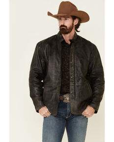 Cripple Creek Men's Antique Black Lamb Nappa Leather Jacket , Black, hi-res