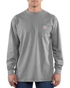 Carhartt Men's Flame-Resistant Solid Long-Sleeve Work Shirt - Big & Tall, Grey, hi-res