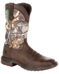 Rocky Men's Original Ride FLX Waterproof Western Boots - Square Toe, Brown, hi-res
